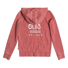 roxy Be The Overflow Hola Beachachas Zip Up Hoodie back view girls hoodies heather red ergft03242-mmr0