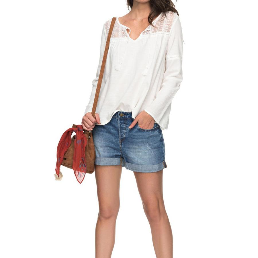 roxy Sweet Sunshine Long Sleeve Top front view Womens Fashion Tops white erjwt03200-wbt0