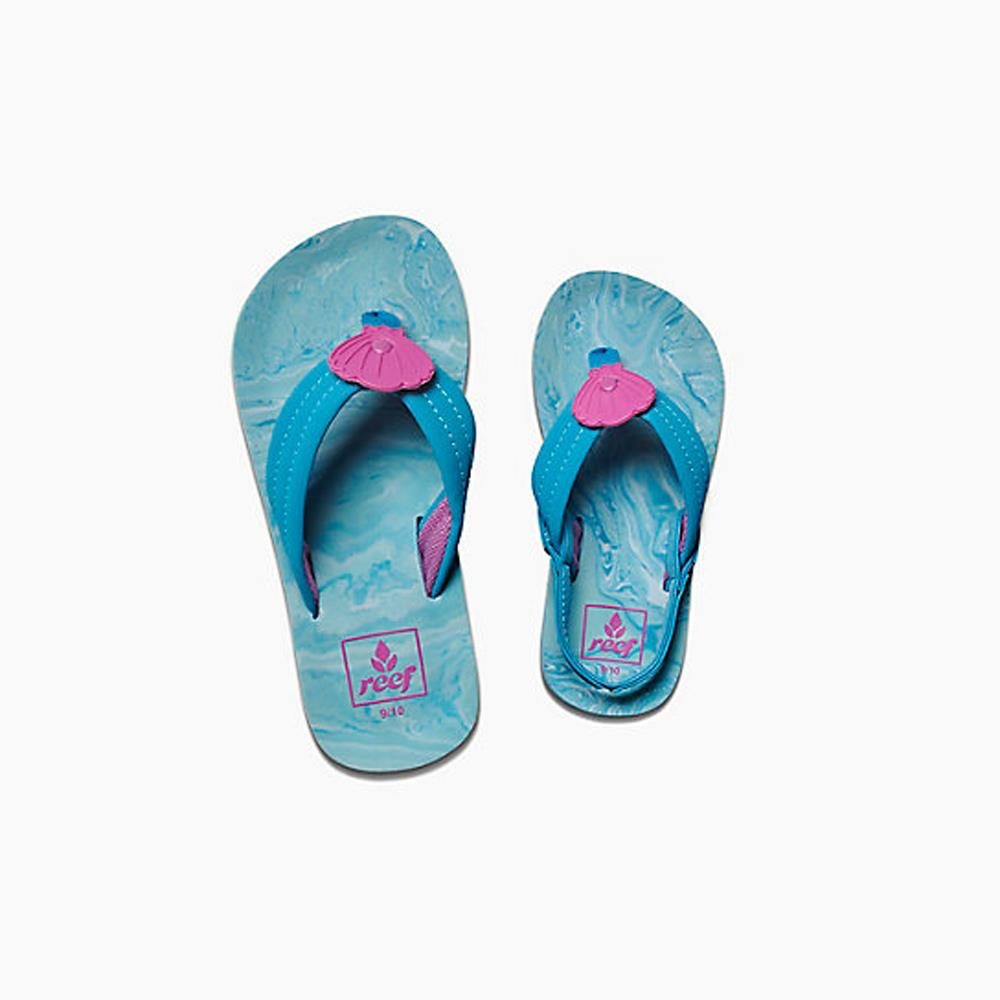 reef Little Ahi Swirl top view Kids Sandals blue rf0a3fdv-sll