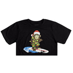 quicksilver Santa Surf Monkey Tee front view Boys Short Sleeve T-Shirts black aqbzt03316-kvj0