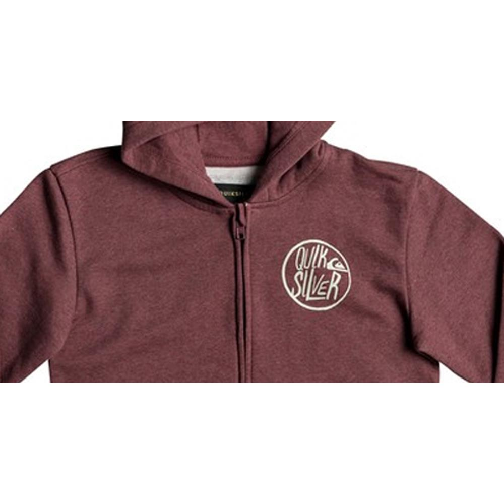 quicksilver Sagu Zipped Hoodie close-up view Boys Hoodies wine red eqbft03406-rzgh