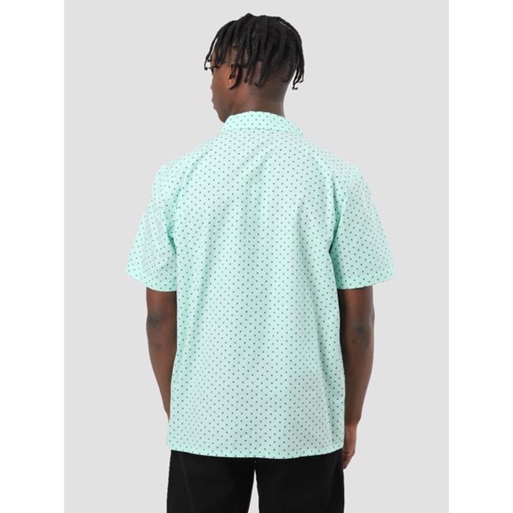 obey Gavin Woven back view Mens Button Up Short Sleeve Shirts seafoam green 181210190-sea
