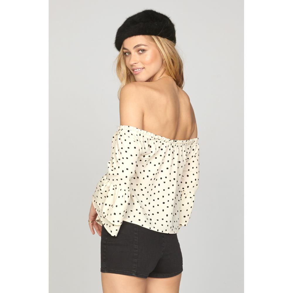 amuse society Chappelle Woven back view Womens Fashion Tops white/black a517gha