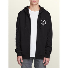 a48841801-blk volcom stone zip mens full zip hoodies black
