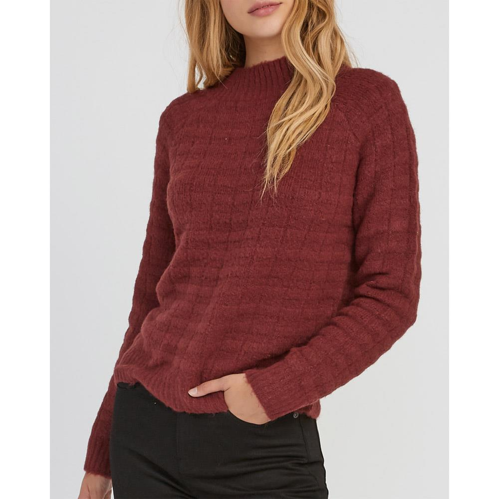 rvca my starts knit front view womens sweaters magenta
