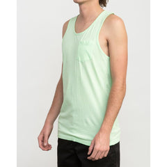 rvca ptc pigment tank side view mens tank tops and jerseys green