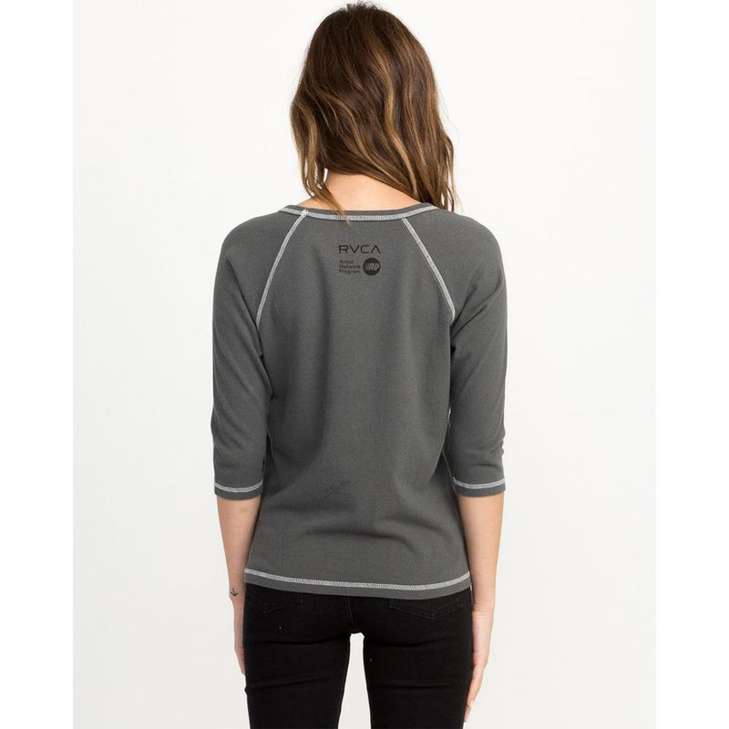 rvca universal peace back view Womens Long Sleeve Shirts grey