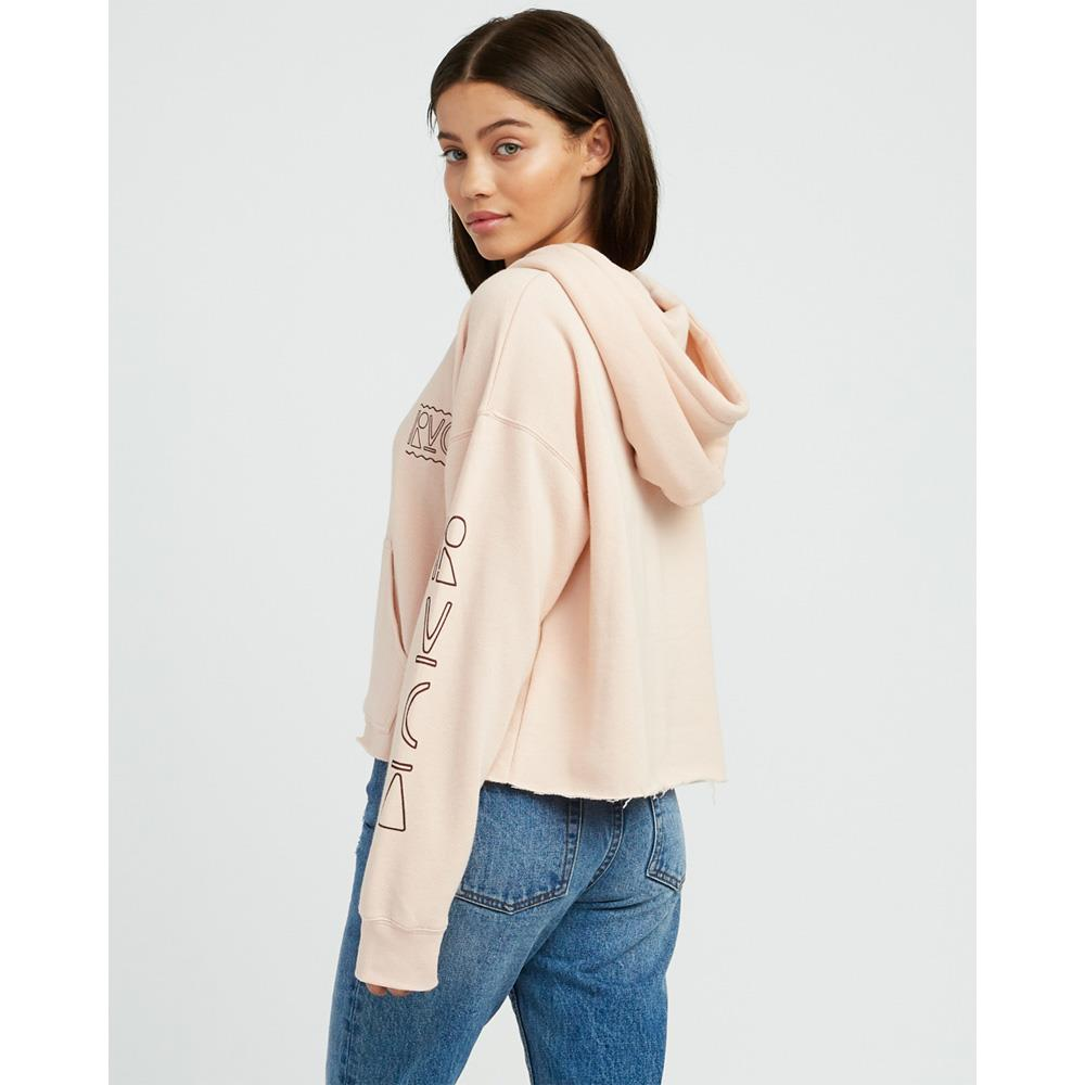 rvca venetian cropped back view Womens Pullover Hoodies pink