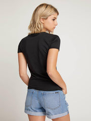 volcom side stage ringer back view womens short sleeve shirts black