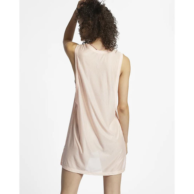 Hurley, Quick Dry Blaze Biker Dress, Womens dresses, beach cover, Crimson tint, pink, AR4242 back view