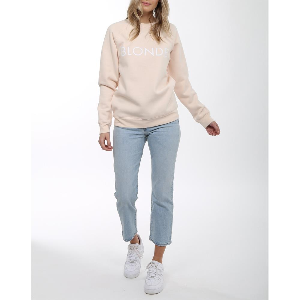 brunette Blonde Crew front view Womens Sweaters peach