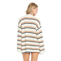 S1120-W52-NATURAL, CLAIRE SWEATER - SALTY STRIPE, Womens Sweaters, Womens Cardigans, Saltwater Luxe