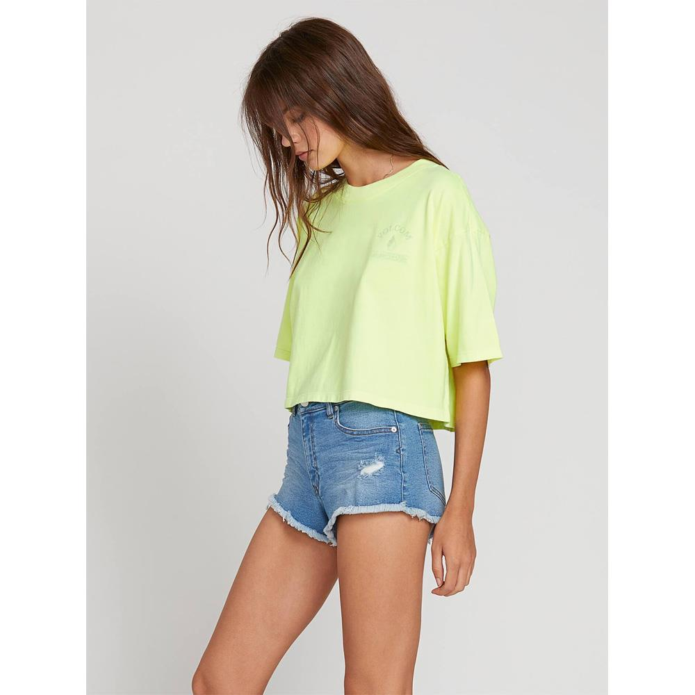 Volcom, Neon and on Tee, Womens cropped tee, Yellow, Neon Yellow, B3521908-NNY Side View