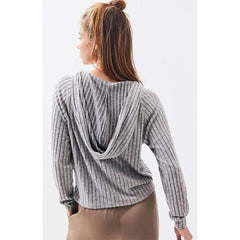 Billabong, J911VBCO-AHH, Ash Heather, Cozy Up Top, Womens Long Sleve Tops, Womens Hoodies, Grey, Fall 2019, Back View