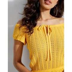 W92R00R22N0, Guess Canada, Caia Off The Shoulder Frill Top, Womens Fashion Tops, Yellow, Cabana Banana, Close-up