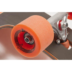 "10531456, Dusters, Kiss Longboard, Longboard Complete, 38.5"", Black/Orange, Wheel view"