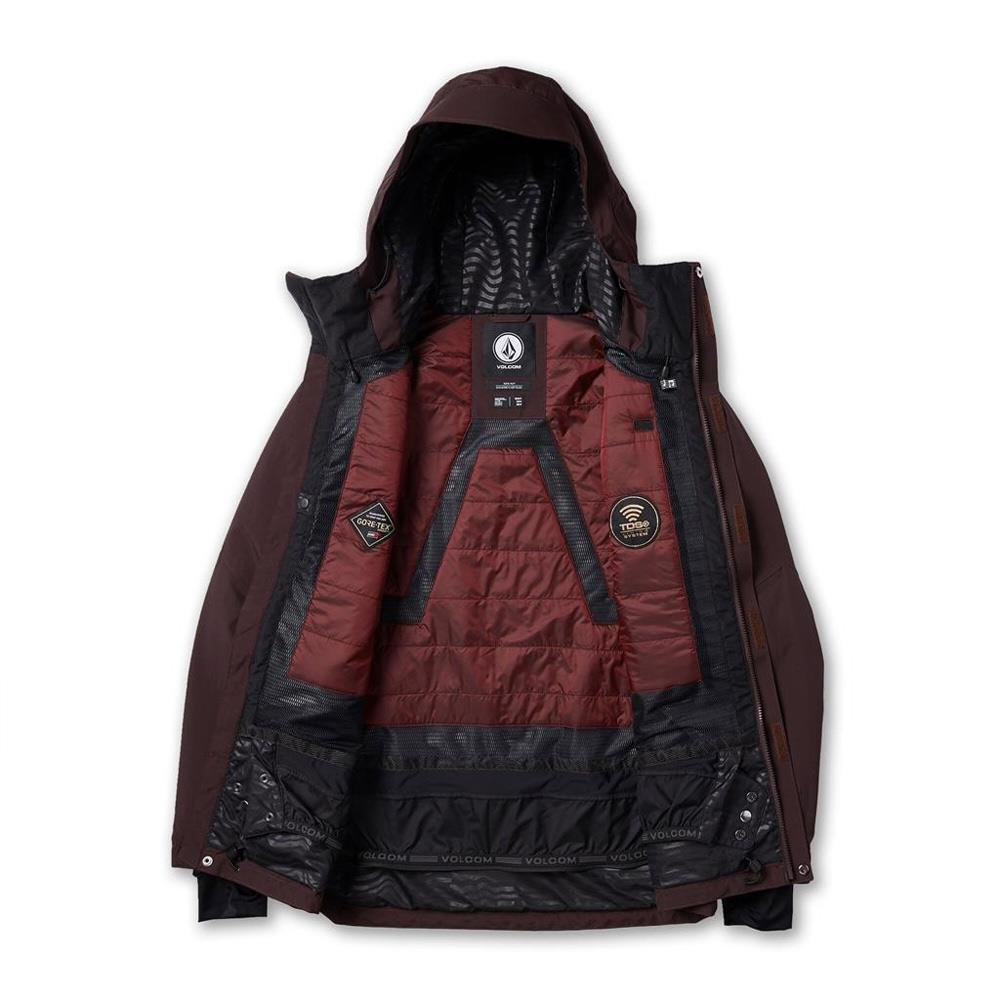 G0452001-BRD, Red, Black, Volcom, TDS 2L Gore-Tex Jacket, Mens Winter Jackets, Mens Outerwear, Winter 2020, open view