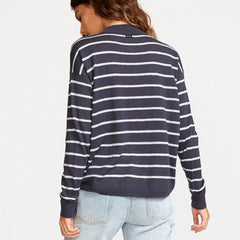 RVCA, WV02VRTR-INK, Ink color, Tristan Striped Sweater, Womens Sweaters, Blue, Back View, Fall 2019