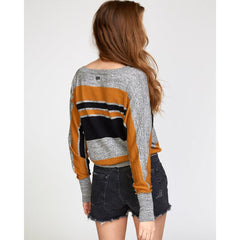 RVCA, WV03VRCA-CSP, Cathay Spice, Carter Striped Sweater, Womens Sweaters, Mustard, Black, Grey, Fall 2019,  Back View
