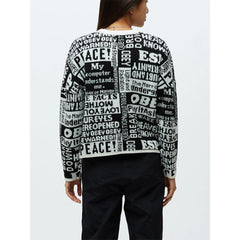 251000085.BKM, POST CREW SWEATER, OBEY, WOMENS SWEATERS, BLACK, WHITE, FALL 2019, BACK VIEW