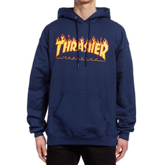 Thrasher, THR-311194, Navy, Flame Logo Hood, Mens Pullover Hoodies, Fall 2019
