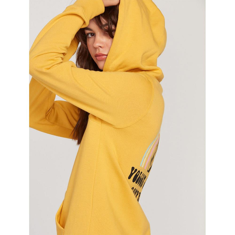 B4112000-SRS, SUNRISE, YELLOW, VOLCOM, STONE HOODIE, WOMENS PULLOVER HOODIES, SPRING 2020, SIDE VIEW