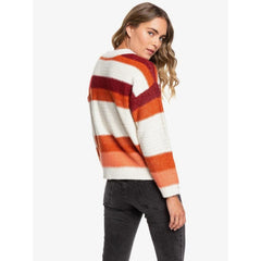 ERJSW03359-MJR0, CANYON CLAY, RED, ORANGE, WHITE, STRIPES, TRIP FOR TWO STRIPE SWEATER, ROXY, WOMENS SWEATERS, HOLIDAY 2019