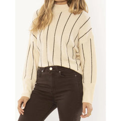 A803NALI-SHL, SHELL, OFF WHITE, PINSTRIPE, AMUSE SOCIETY, ALINE KNIW SWEATER, WOMENS SWEATERS, HOLIDAY 2019