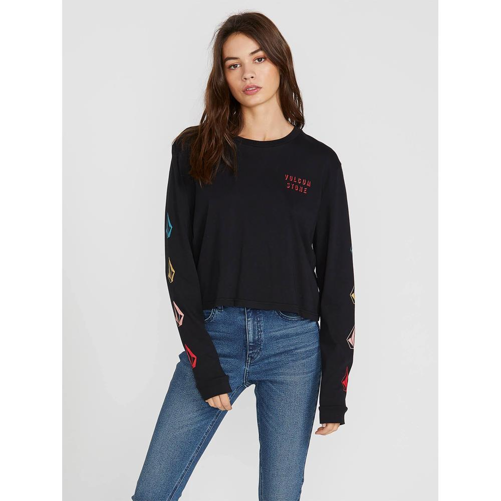 B3641902-Black, The Volcom Stone LS,Womens Long Sleeve Shirts, Front View, Holiday 2019