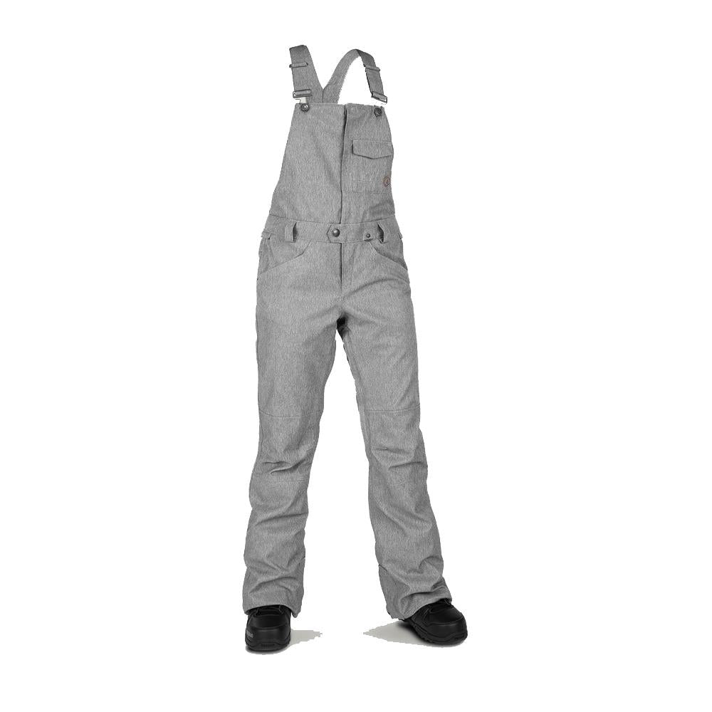 h1352003-hgr Volcom Swift Bib Overall heather grey front view