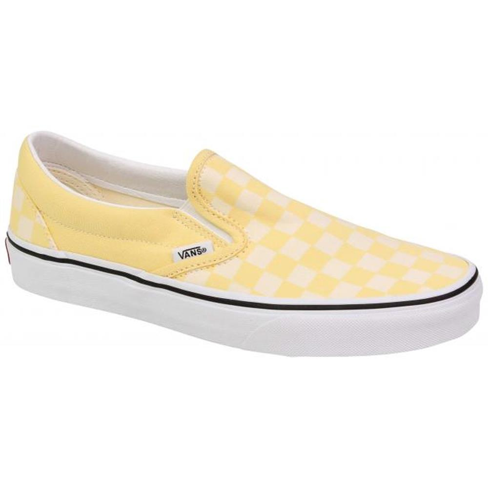 VN0A4U38-WRZ, GOLDEN HAZE / TRUE WHITE, VANS, CLASSIC SLIP ON CHECKERBOARD SHOES, WOMENS SKATE SHOES, WOMENS SLIP ON SHOES, SPRING 2020