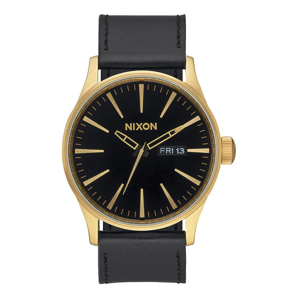 A105-513-00, GOLD / BLACK, NIXON, SENTRY LEATHER BAND WATCH, MENS WATCHES, WINTER 2019
