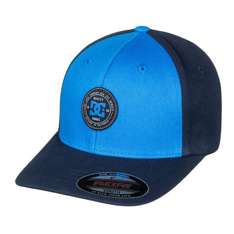 dc curve breaker flexfit hat boys front view youth hats blue