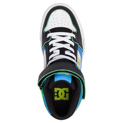 dc pure se ev high top shoes youth top view kids skate shoes blue/black