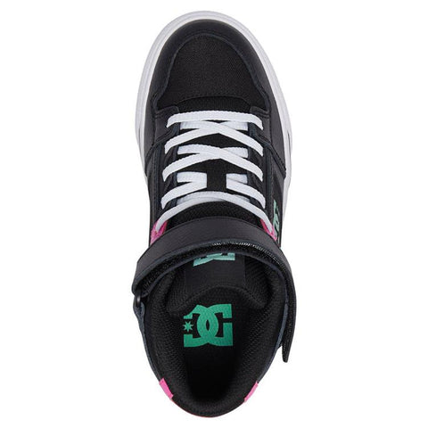 dc pure ev high top shoes girl top view kids high tops black/pink