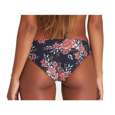 billabong lets wander lowrider bikini back view bikini bottoms navy/red