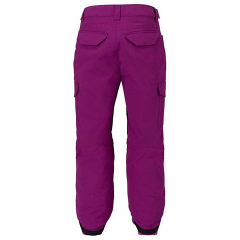 burton elite cargo pan girls back view girls snowpants plum 11583101505