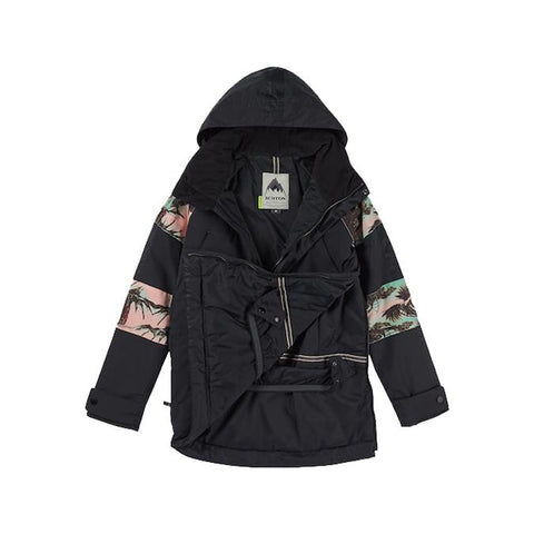 burton cinder anorak jacket womens inside view womens shell jackets black/pink/cyan 15003101994