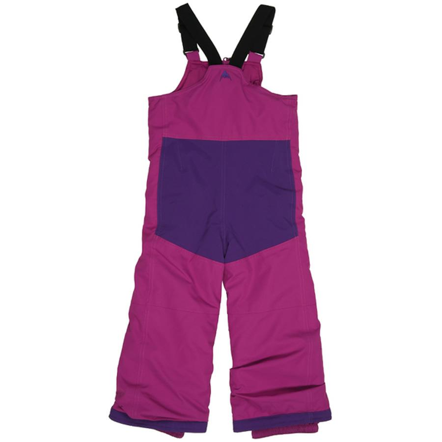 burton minishred maven bib kids back view girls snowpants purple/pink 10352103500
