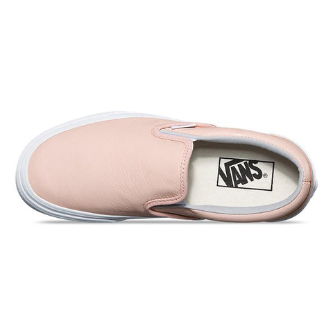 van classic slip on leather shoes top view womens slip on shoes peach vn0a38g1q6l
