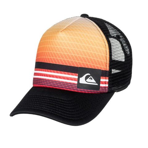 quicksilver foamnation trucker hat boy front view youth hats orange/black aqbha03279-bhc0