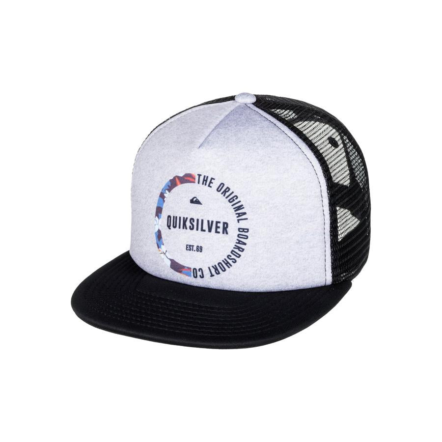 quicksilver mix tape trucker hat boys front view youth hats heather grey/black aqbha03284-knfh