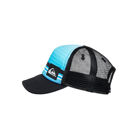 quicksilver baby foamnation trucker hat side view toddlers hat black/blue aqiha03071-bmm0