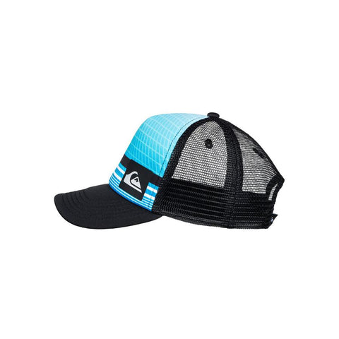 quicksilver foamnation trucker hat boy side view toddlers hat black/blue aqkha03194-bmm0