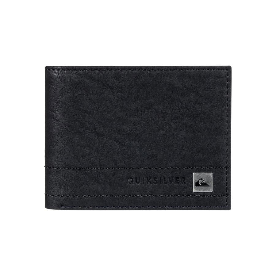 quicksilver stitchy bi-fold wallet front view mens wallets black eqyaa03636-kvj0