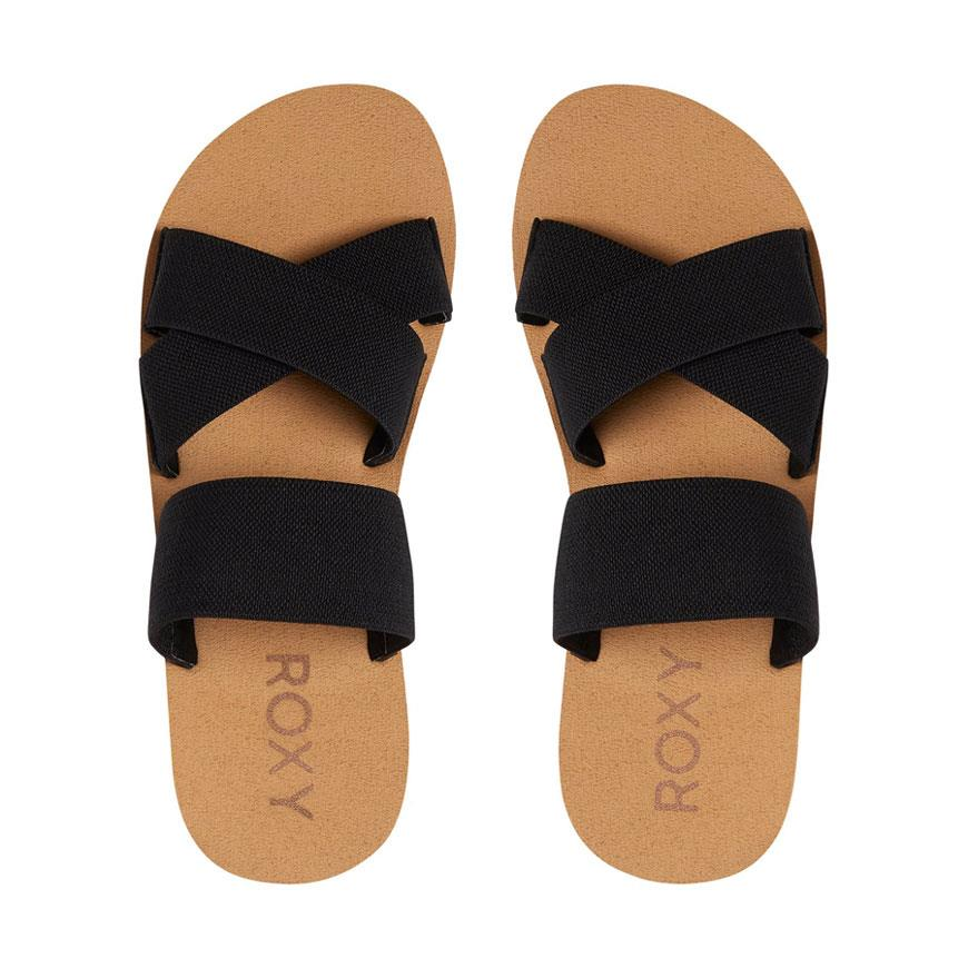 roxy shoreside sandals top view womens fashion sandals black arjl100656-blk