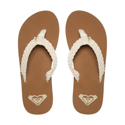 roxy proto ii flip flops top view womens flip flops off white arjl100677-cre