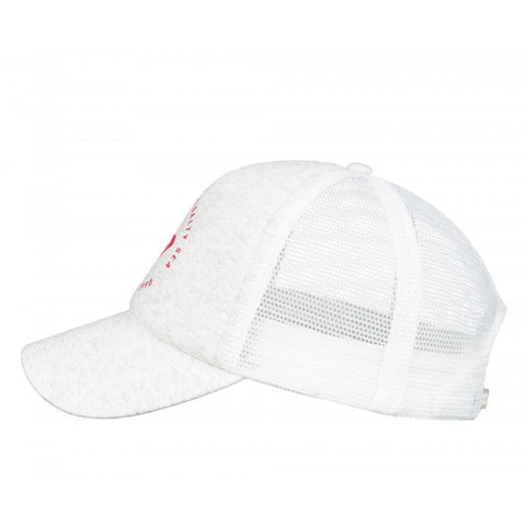 roxy reggae town trucker hat girls side view youth hats heather grey arjzt04715-wbs0
