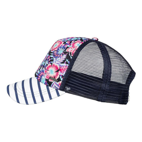 roxy just ok trucker hat girls side view youth hats black/purple ergha03103-wclh