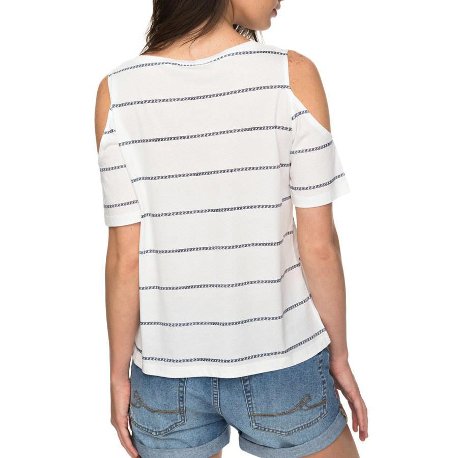 roxy Uptown Sun Cold Shoulder Tee back view womens short sleeve shirts white stripe erjkt03358-xwkw